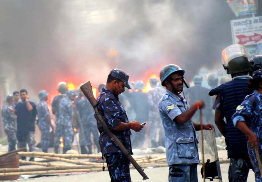 Security personnel in Birgunj. Photo: Ram Sarraf