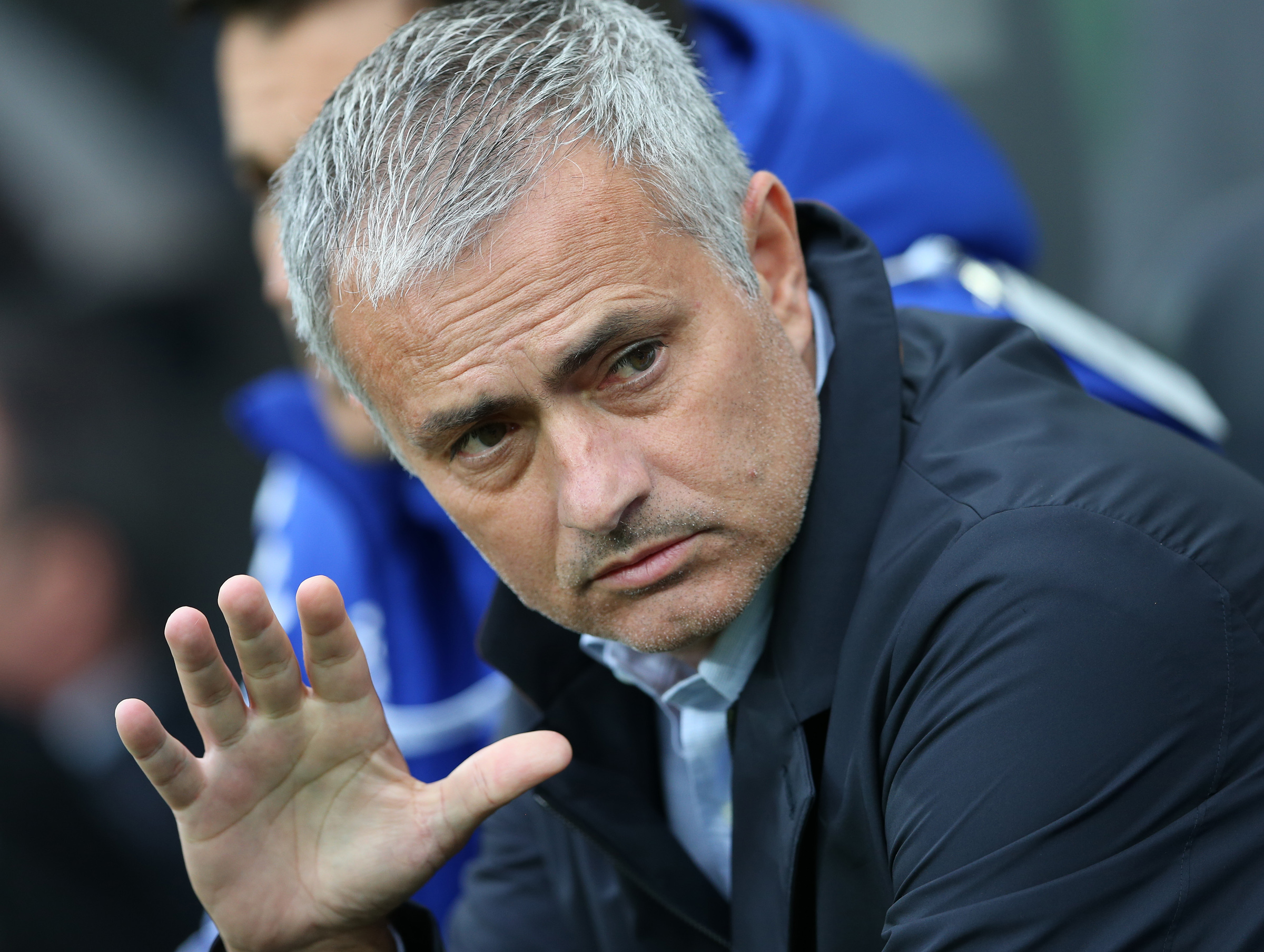 Chelsea's manager Jose Mourinho awaits the start of the English Premier League soccer match between Newcastle United and Chelsea at St James' Park, Newcastle, England, Saturday, Sept. 26, 2015. (AP Photo/Scott Heppell)