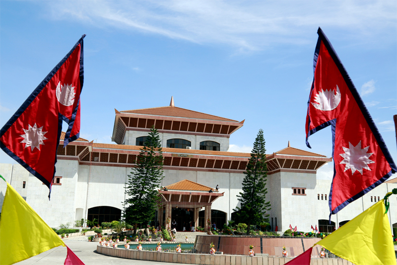Constituent Assembly Building decorated before President Ram Baran Yadav would announce Nepal's Constitution 2072 at 5 pm, on Sunday, September 20, 2015. Photo: RSS