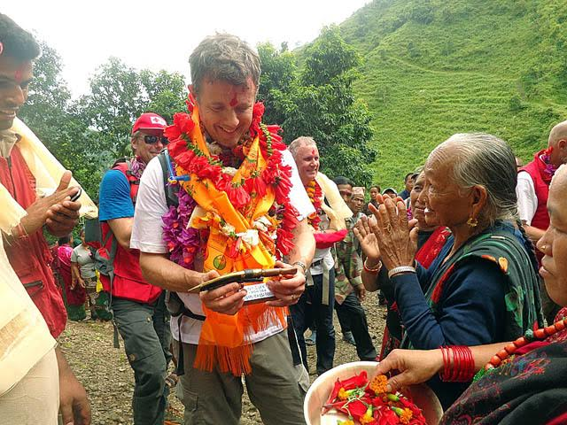 Crown Prince of Denmark Frederik is being welcomed by locals of Pa Chowk in Lamjung on Saturday, September 19, 2015. Photo: Ramji Rana