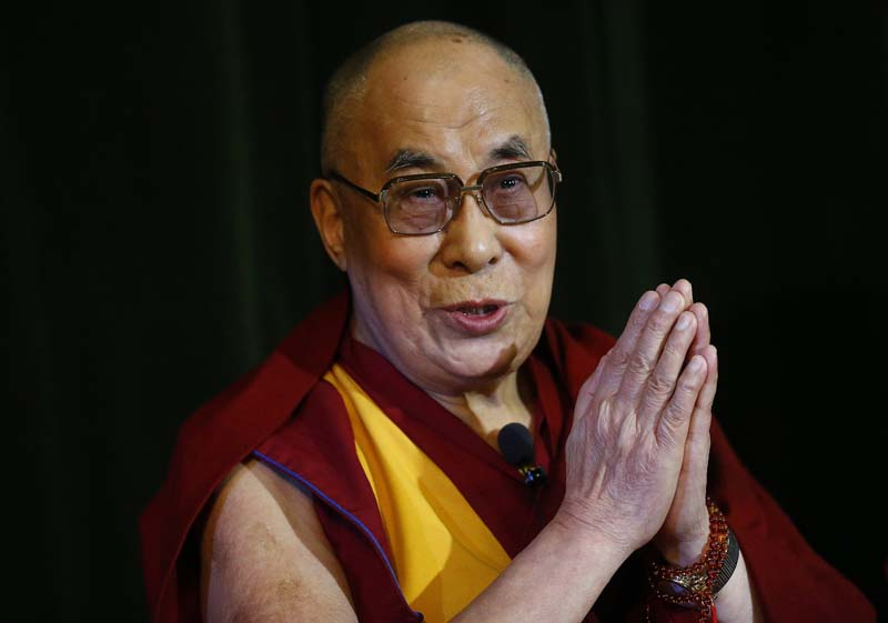 Tibetan spiritual leader, the Dalai Lama speaks during a news conference at Magdalene College in Oxford, Britain in this September 14, 2015 file photo. Photo: Reuters