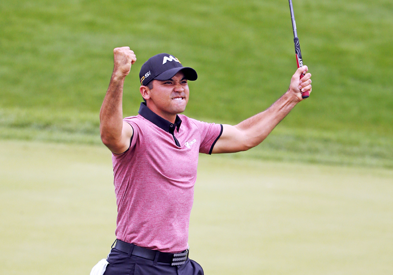 Australia's Jason Day celebrates his eagle putt on the 18th green during the BMW Championship second round in Illinois on Friday. Photo:AP