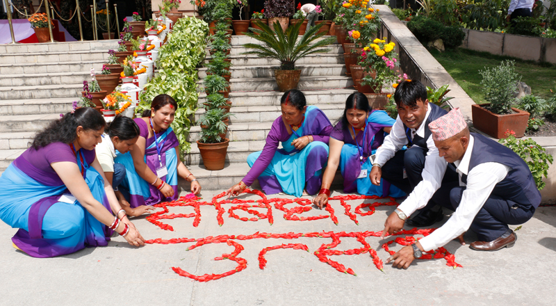 Staff decorating Constituent Assembly Building before President Ram Baran Yadav would announce Nepal's Constitution 2072 at 5 pm, on Sunday, September 20, 2015. Photo: RSS