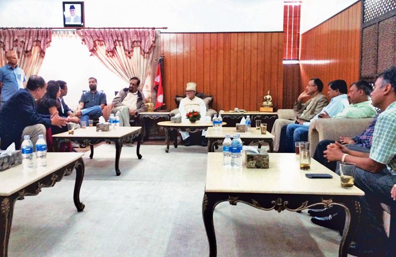 Prime Minister Sushil Koirala meeting a delegation of FNCCI, in Kathmandu, on Saturday. Photo: Courtesy PMO