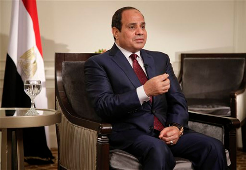 Egyptian President Abdel Fattah el-Sisi answers questions during an interview on Saturday, September 26, 2015, in New York. Sisi discussed various issues including Egypt's role in the Middle East, his country's work on an expansion project to the Suez Canal, and relations with the United States. Photo: AP