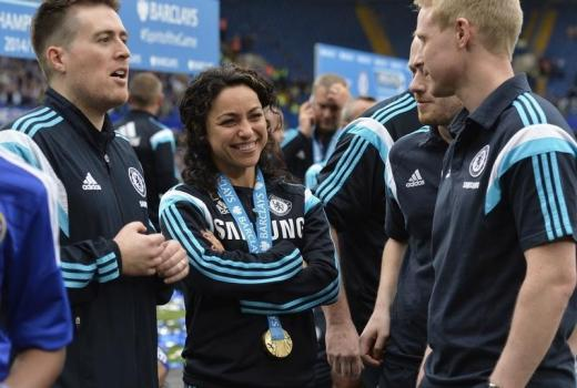 Chelsea first team doctor Eva Carneiro celebrates after winning the Barclays Premier League.nAction Images via Reuters