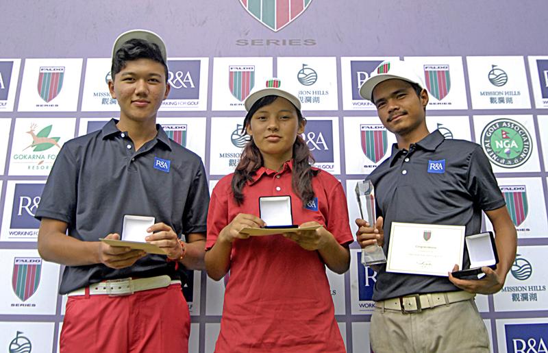 Winners of Faldo Series Nepal Championship (from left) Tenzing Tsering, Pratima Sherpa and Shivaraj Majhi at the Gokarna Golf Club in Kathmandu on Wednesday. Photo: Naresh Shrestha/THT