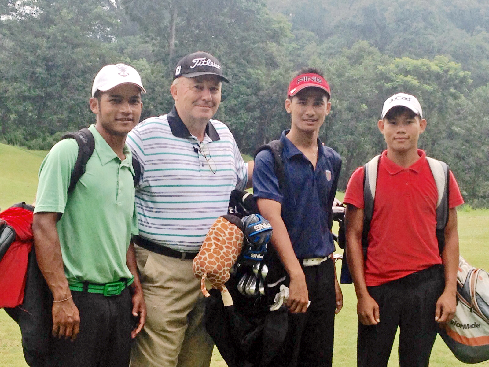 Australian PGA Instructor Kim Baldwin with Nepali golfers during a training camp at the Gokarna Golf Club in Kathmandu.