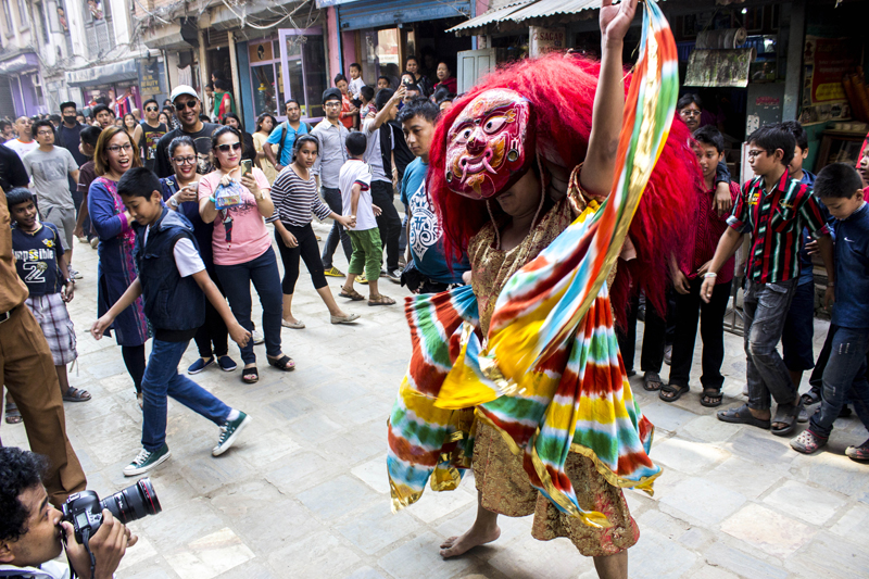 A lakhe dancing amid a group of onlookers during the Indra Jatra Festival, in Lakhe in Chikamugal area of Kathmandu, on Sunday, September 27, 2015. Courtesy: Nipurna Bajracharya