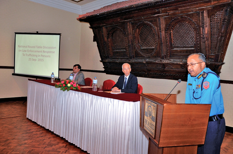 Inspector General of Police Upendra Kant Aryal addressing the national round-table discussion on Law Enforcement Response to Trafficking in Persons, in Kathmandu, in September 2015.  Photo: THT