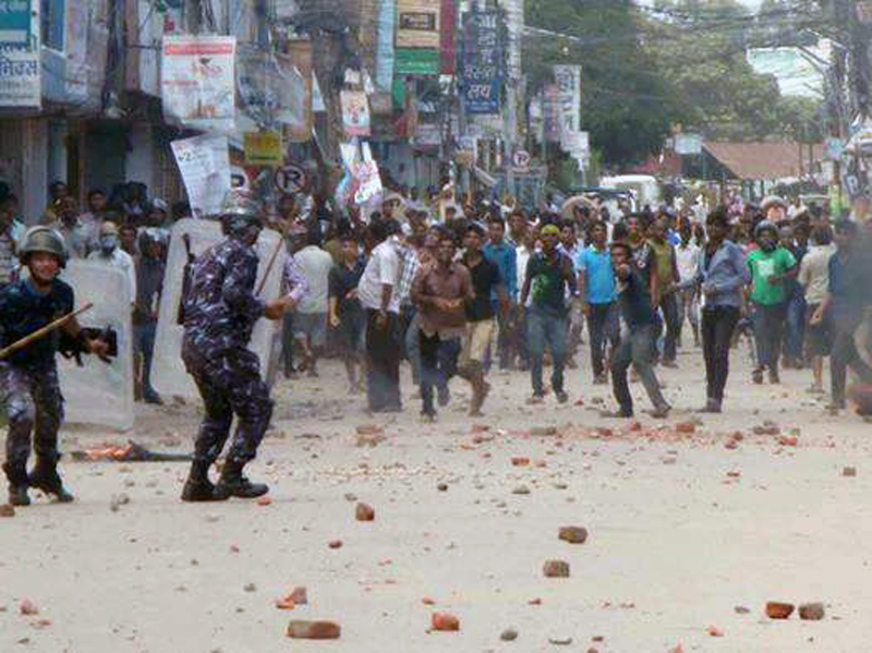 A clash erupted between protesters and police in Janakpur of Dhanusha on Friday, September 11, 2015. Photo: Brij Kumar Yadav