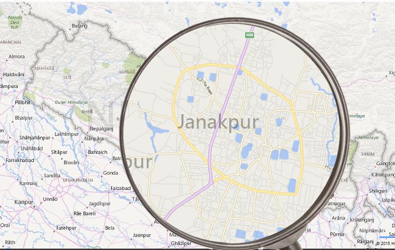 Janakpur. Maps: Bing maps