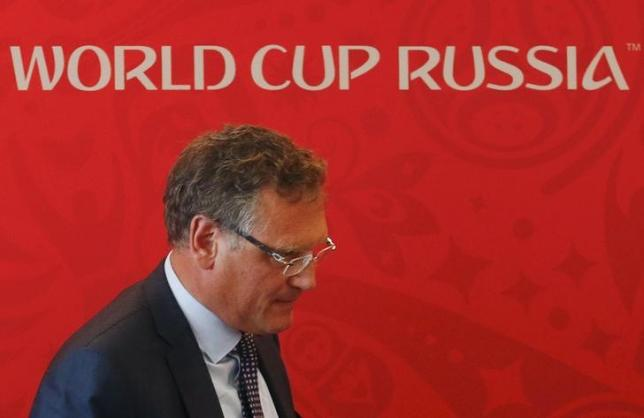 FIFA Secretary General Jerome Valcke walks away after attending a news conference in the southern city of Samara, Russia, June 10, 2015. REUTERS/Maxim Zmeyev
