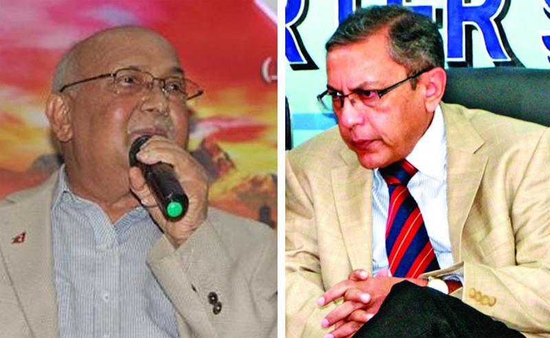 CPN-UML Chairman KP Sharma Oli (Left), Indian Ambassador to Nepal Ranjit Rae. Photo: THT Online