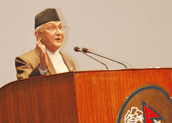 CPN-UML Chairman KP Sharma Oli speaking at the CA on Sunday, September 12, 2015. Photo: RSS