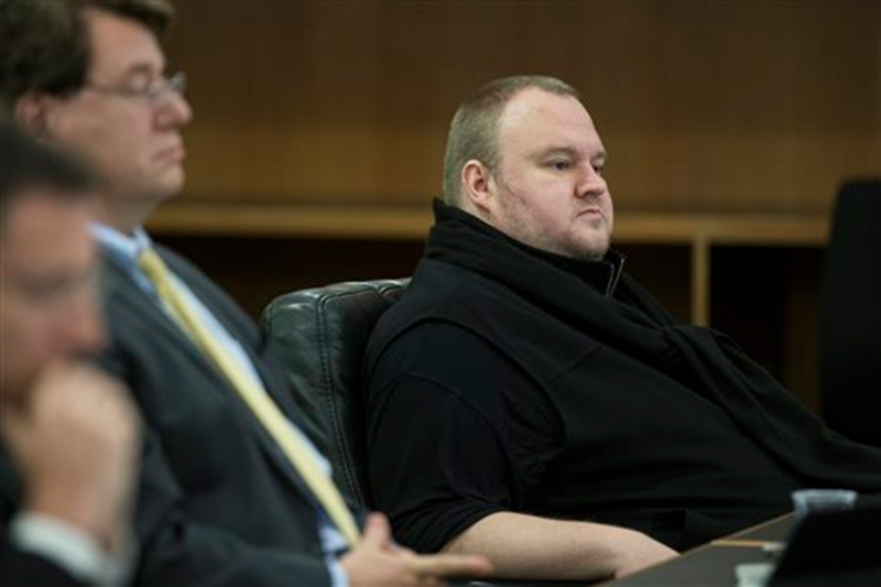 Kim Dotcom sits in the Auckland District Court during an extradition hearing in Auckland, New Zealand, Monday, September 21, 2015. Photo: AP