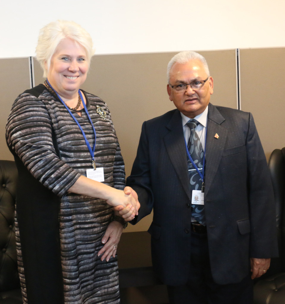 Minister for Foreign Affairs Mahendra Bahadur Pandey shake hands with his Estonian counterpart Marina Kaljurand in New York on Monday, September 28, 2015. Photo: RSS