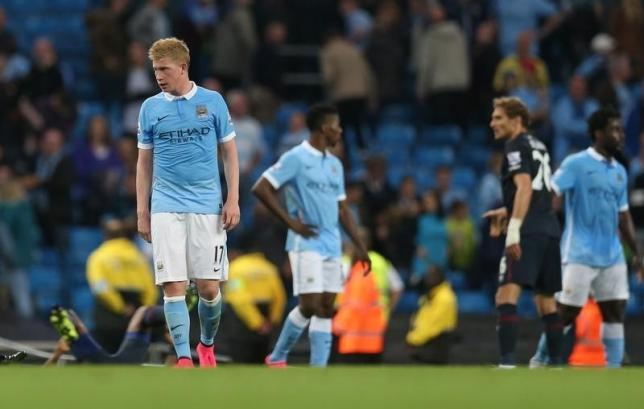 Manchester City's Kevin De Bruyne looks dejected after the game.nAction Images via Reuters