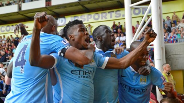 Kelechi Iheanacho celebrates with team mates after scoring the first goal for Manchester City.nPhoto: Reuters