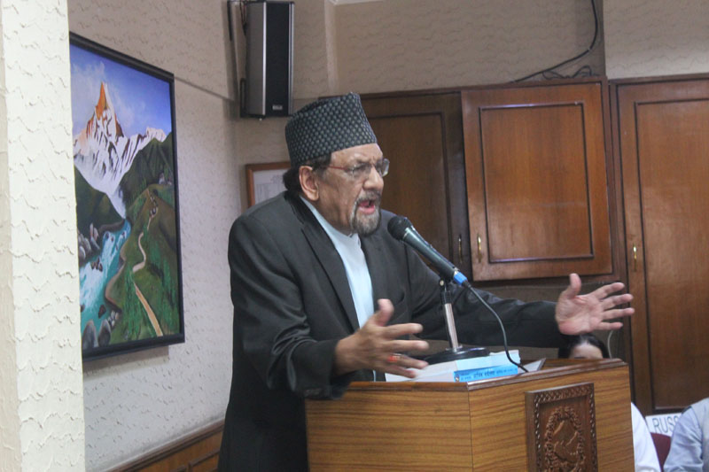 File- Then Minister for Finance Ram Sharan Mahat addressing in a meeting with international development partners on the situation after promulgation of new Constitution, in Kathmandu on Monday, September 28, 2015. Photo: MoF