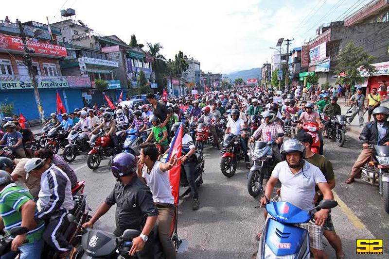Photo Caption:  A motorcycle rally oraganised by Pokhara Chamber of Commerce and Industry (PCCI) to defy the strike called by Tamuwan Samuykta  Sangharsha Samiti demanding autonomous Tamuwan province, in Kaski district on Monday, September 21, 2015.nPhoto Courtesy: Sooraz Shrestha