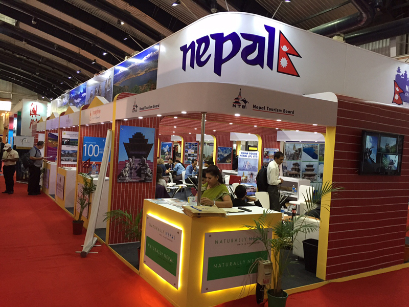 Nepal Tourism Boardu2019s stall at PATA Travel Mart 2015 in Banglore. Photo: Terence Lee