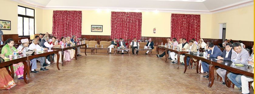 Meeting of the Nepali Congress Central Working Committee was held at the Prime Minister's official residence in Baluwar on Monday, September 21, 2015. Photo: RSS