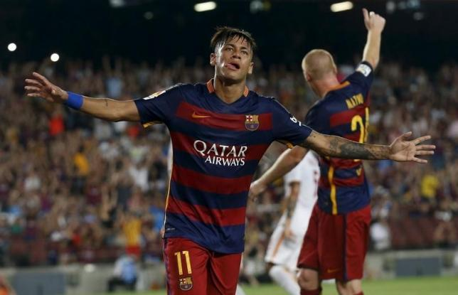 Barcelona's Neymar celebrates a goal against AS Roma during a friendly match at Camp Nou stadium in Barcelona, Spain, August 5, 2015. REUTERS/Albert Gea