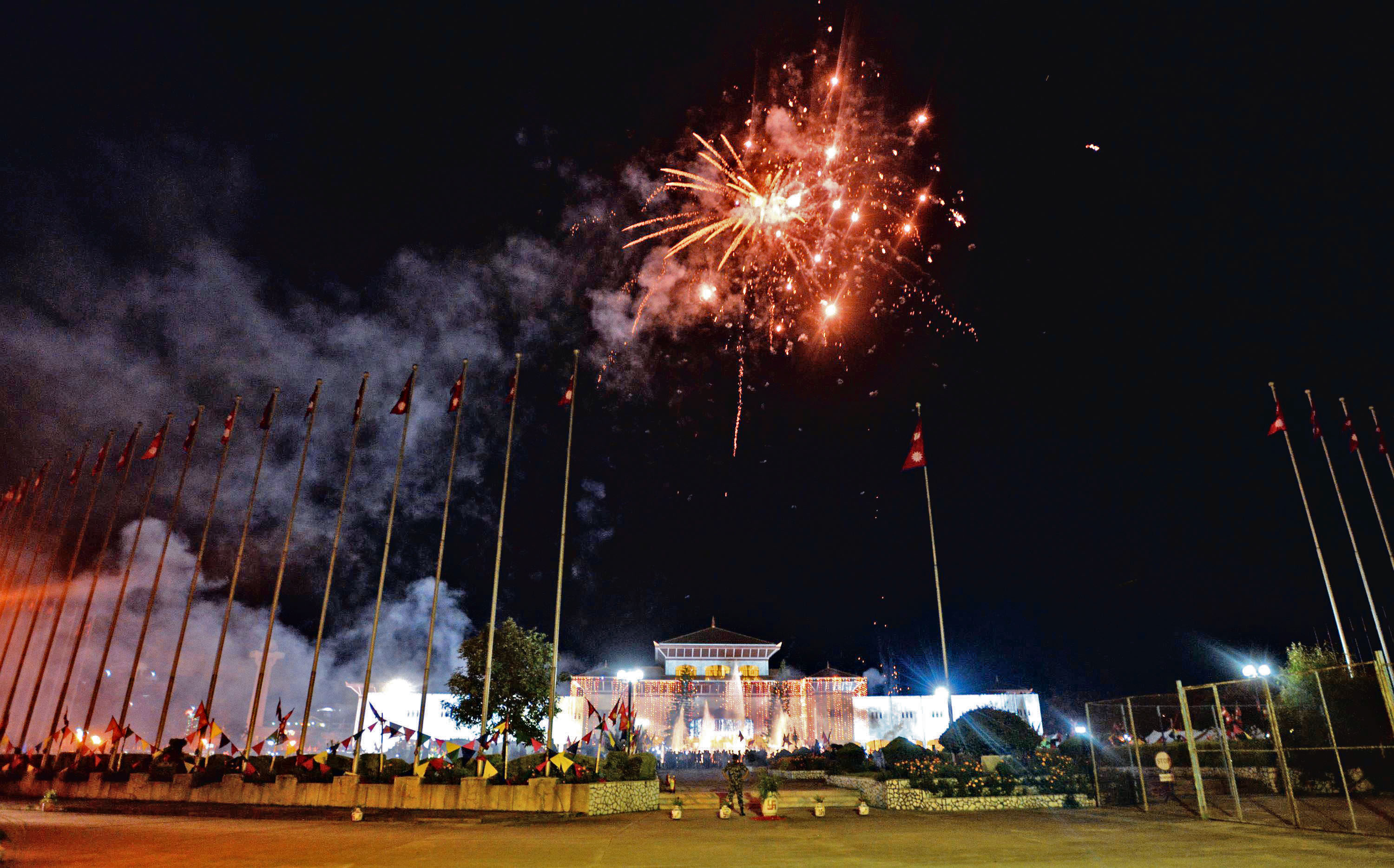 Fireworks are set off to celebrate country's new national constitution near the constituent assembly building in Kathmandu on September 20, 2015. Photo: AFP