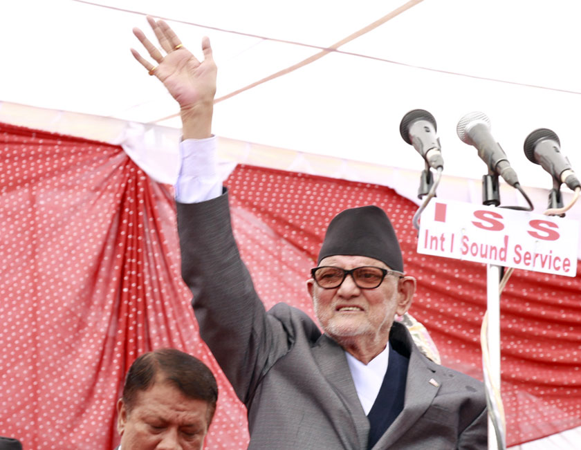 Prime Minister Sushil Koirala at joint function organised by three major parties to welcome new constitution on Monday, September 21. Photo: RSS