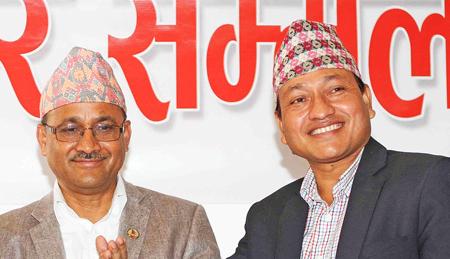 Minister Paudel (Left) and NSC Member Secretary Bista. Photo: THT/File