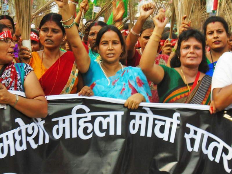 Madhesi Women's Front taking out a rally demanding autonomous Madhes province in Rajbiraj, Saptari, on Friday. Photo: THT