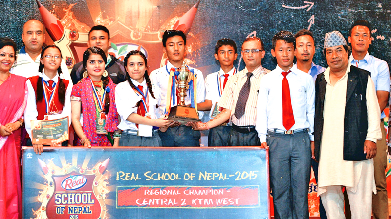 Winners of Real School of Nepal 2015 Final for Central Region (west) posing for a photograph, in Kathmandu, on Tuesday. Photo: THT