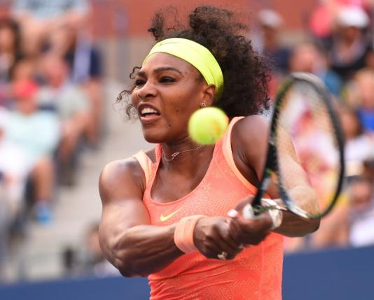 Sep 6, 2015; New York, NY, USA; nSerena Williams of the USA hits to Madison Keys of the USA on day seven of the 2015 U.S. Open tennis tournament at USTA Billie Jean King National Tennis Center. Mandatory Credit: Robert Deutsch-USA TODAY Sports