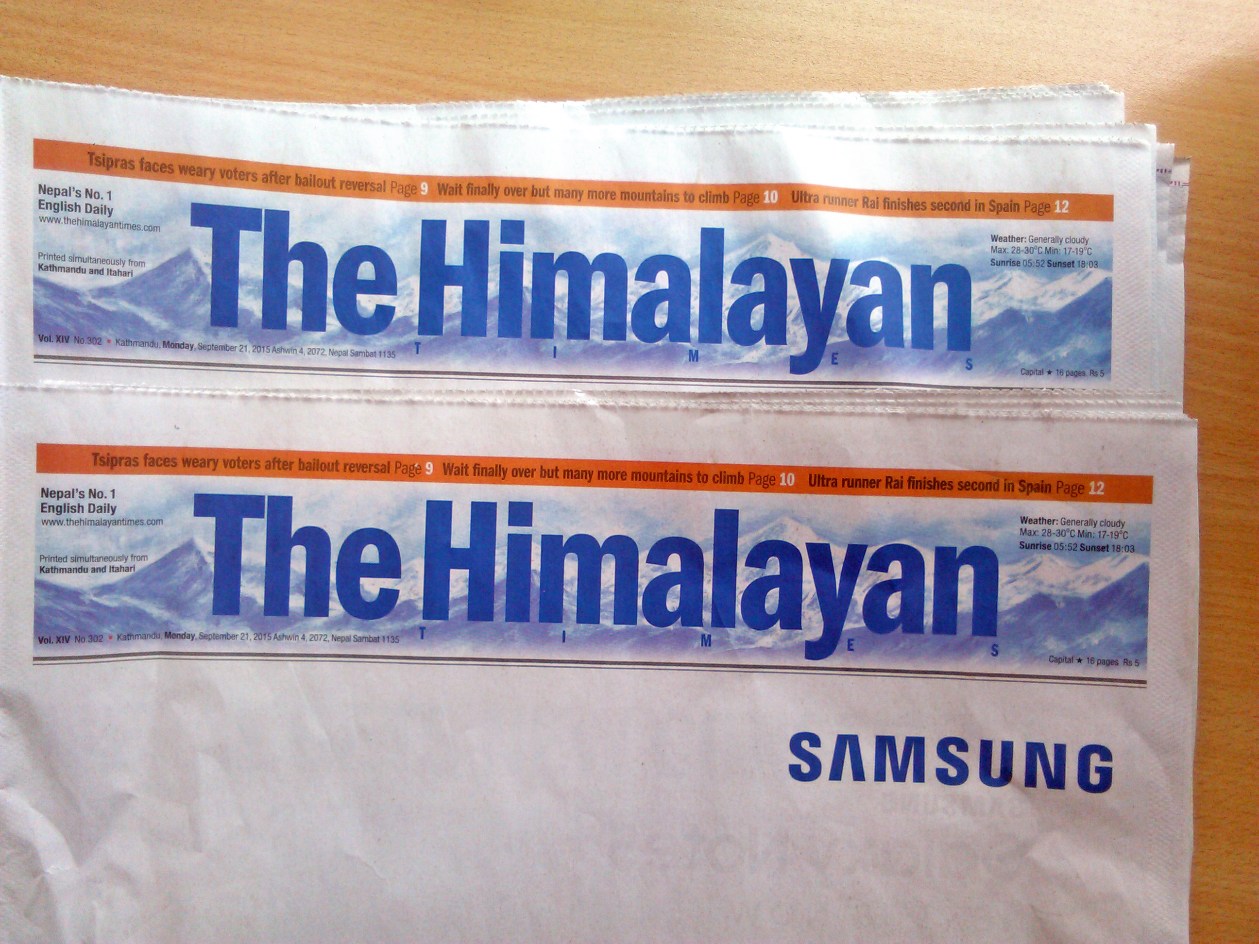 Copies of The Himalayan Times Daily published on Monday, September 21, 2015. Photo: THT Online