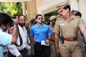 Tendulkar leaves for the airport on his way to Sri Lanka Source: AFP