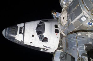 The shuttle crew delivered and equipped the orbiting science laboratory with nearly 30,000 pounds of spare parts Source: AFP