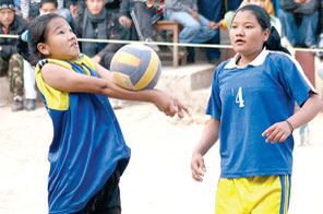 A SEB 'A'player lifts the ball against New Diamond during the fifth SEB Inter-school Volleyball Tournament in Kathmandu on Sunday Source: