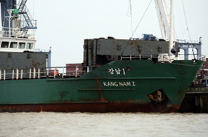 The Kang Nam I cargo ship docked at a port in Yangon on May 21, 2007. Myanmar's state media said on June 24, 2009 it was expecting the arrival of a rice-bearing North Korean ship but had no news about a vessel being tracked by a US Navy destroyer under new UN sanctions. The comments came after US officials said a North Korean ship, the Kang Nam 1, was the first to be monitored under a UN resolution designed to punish Pyongyang over a nuclear test and could be headed to Myanmar. Source: AFP