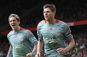 Liverpool stars Steven Gerrard(R) and Fernando Torres, seen here in March 2009, will miss Saturday's Premier League clash at Sunderland after suffering injuries on international duty. Source: AFP