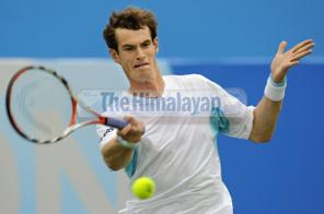 British player Andy Murray hits a shot during the singles game against Andreas Seppi of Italy during the second round match at The AEGON Championships tennis tournament at Queen's Club in west London on June 10, 2009. Murray won the game 6-1, 6-4. Source: AFP PHOTO Adrian Dennis