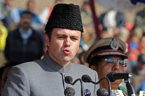 Jammu and Kashmir Chief Minister Omar Abdullah addresses a ceremony for fallen security personnel in Zewan on the outskirts of Srinagar in October, 2009. Source: AFP
