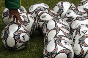 South Africa's kit manager counts the soccer balls after training at the Orlando stadium in Soweto, South Africa, Thursday June 11, 2009. South Africa are competing in the Confederations Cup soccer tournament that will get underway on June 14.  Source: AP Photo/Themba Hadebe