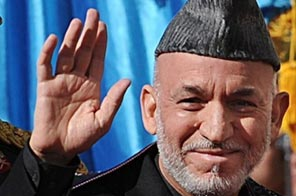 Afghan President Hamid Karzai arrives for his swearing in ceremony on November 19. Source: AFP