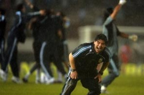 Argentina's national team coach Diego Maradona celebrates after their FIFA World Cup South Africa-2010 qualifier match against Peru at Monumental stadium in Buenos Aires, Argentina. Argentina won 2-1. Source: AFP