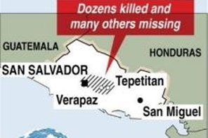 Map locating the area of El Salvador worst hit by rains. A late-season hurricane is heading for the United States and oil fields in the Gulf of Mexico after helping cause flooding and landslides that killed 124 people in El Salvador. Source: AFP
