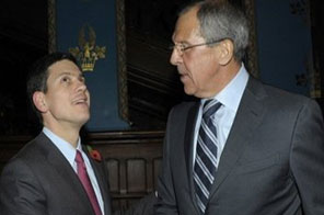 Russian Foreign Minister Sergey Lavrov (R) shakes hands with Britain's Foreign Secretary David Miliband during their meeting in Moscow on November 1. Miliband is in Russia seeking to improve relations plunged back to a Cold War chill by a series of bitter rows. Source: AFP