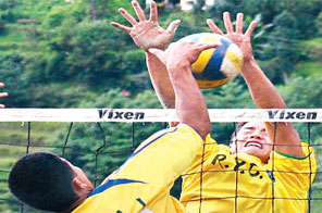 Players of Mali VDC and Ramechhap Youth Group (right) in action during their semi-final match at the Hemanta Memorial Cup Open Volleyball Tournament in Jiri on Thursday. Source: Agencies
