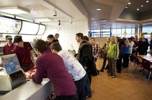 Consumers flock to a McDonald's fast-food reastaurant in Reykjavik. Noisy crowds, long queues, and traffic jams plunged McDonald's restaurants in Iceland into a state of siege Saturday, as the chain served its final burgers on the island. Source: AFP