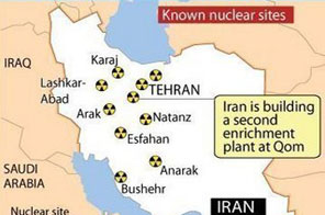 Map locating Iran's known nuclear sites. Major world powers were meeting in Brussels to discuss Iran's rejection of an international nuclear fuel deal, after US President Barack Obama warned Tehran must face the consequences. Source: AFP Graphics